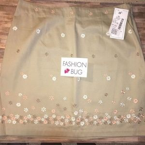 NEW Floral Embroidery SKIRT Khaki Tan Twill CUTE!